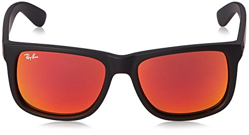 ray ban rubber frame review  Ray-Ban JUSTIN - RUBBER BLACK Frame BROWN MIRROR ORANGE Lenses ...
