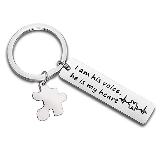 ss Keychain I Am His Voice He is My Heart Keychain with Puzzle Piece Charm Autism Mom Gift (I Am His Voice) ()