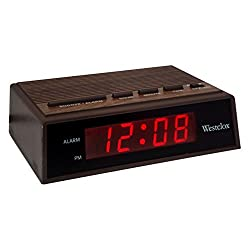 Westclox Woodgrain LED Alarm Clock