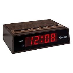 Westclox Woodgrain Led Alarm Clock