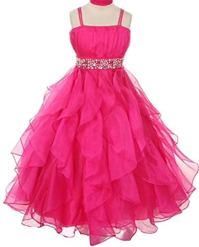 Length Taffeta Natural Floor (Big Girls' Sleeveless Fabulous Ruffled Rhinestone Pageant Flower Girl Dress Fuchsia 10 (C32B0))
