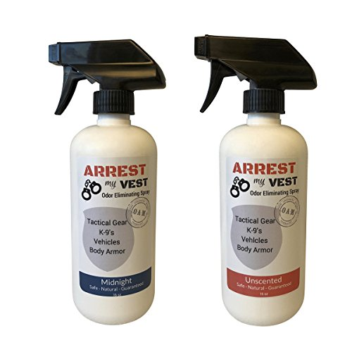 Arrest My Vest Odor Eliminating Spray for Body Armor, K-9's and Vehicles 2 16 oz Bottles, 1 Midnight Fragrance and 1 Unscented. Completely Safe on All Body Armor, Fabrics, Upholstery and Leather