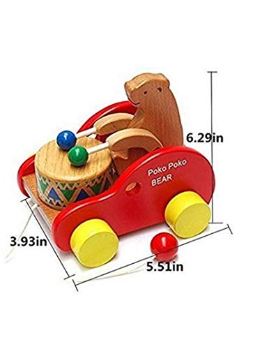 Glamorway Walker Toy Wooden Pull Along Toy reative Educational Toy Bear Play The Drum for Toddlers Kids