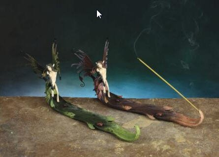 Incense Burner Night Fairy with Hand Painted Metal Wings- 2 Piece/set -