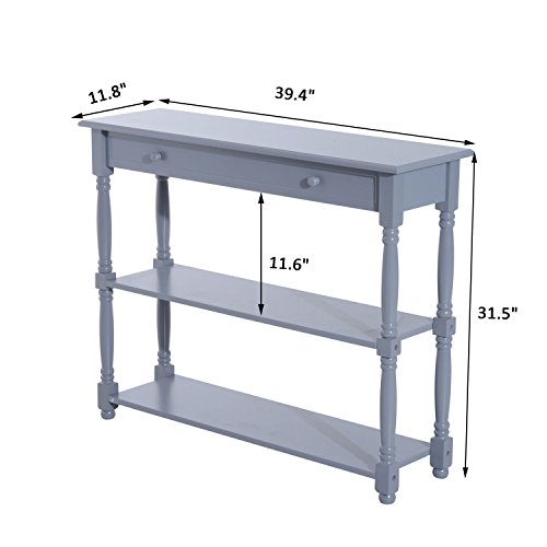 Gray Sofa Console Table Entryway Wood Shelf