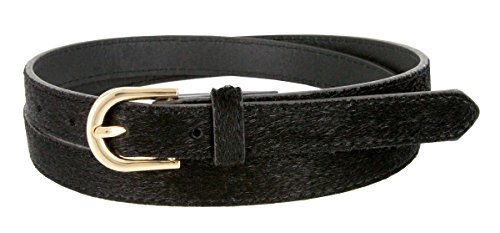 Women's Skinny Leather Casual Dress Hair-on Fur Belt with Gold Plated Buckle (Black, X-Large)