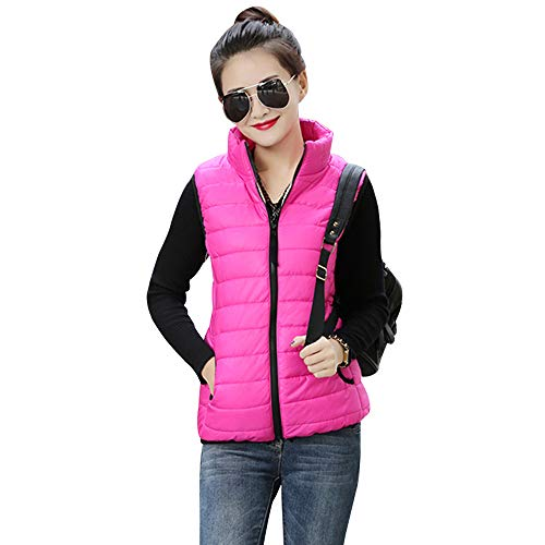 Warmers Up Vest Gilet Red Solid Zip Coat Body Womens Collar Color Down Stand YIHIGH Jacket Vest Jacket Rose wHq8CZ6