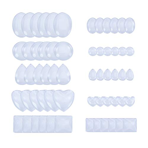 - PandaHall Elite 60 Pcs Half Round Flat Back Clear Glass Dome Tile Cabochon 10 Styles for Photo Pendant Craft Jewelry Making