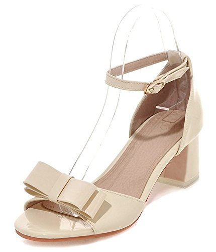 Aisun Womens Cute Comfy Open Toe Buckle Dress Ankle Strap Heeled Sandals Chunky Kitten Heels Shoes With Bows Beige 7k2eh6xP