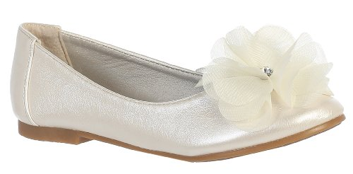 Ivory Faux Leather (Swea Pea & Lilli Lucy Toddler Girls Size 9 Ivory Faux Leather Flats Shoes)