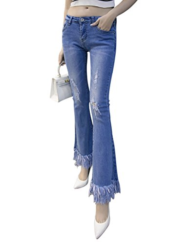 Azzurro Slim Denim Jeans Flared Boot Minuti Mena Women's Di Taglia Nove Nappa Pantaloni Uk Stretch anAa8qR6