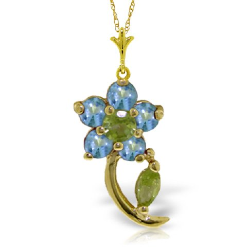 """14K 18"""" Yellow Gold Natural Blue Topaz and Peridot Flower Pendant Necklace"""