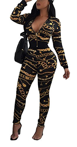 Floral Print Set - Speedle Women's 2 Piece Floral Print Bodycon Sweatsuit, Floral 3, X-Large