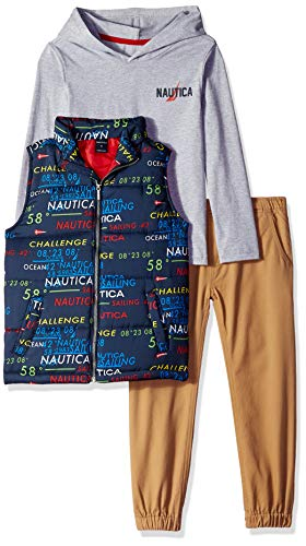Nautica Sets (KHQ) (RJ7QG) Kids & Baby 3 Pieces Vest Pants Set, Print/Gray, 4