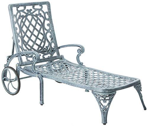 Oakland Living Mississippi Cast Aluminum Chaise Lounge, Verdi Grey