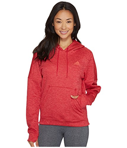 (adidas Women's Team Issue Fleece Pullover Hoodie, Energy Pink Melange/Easy Coral, Small)