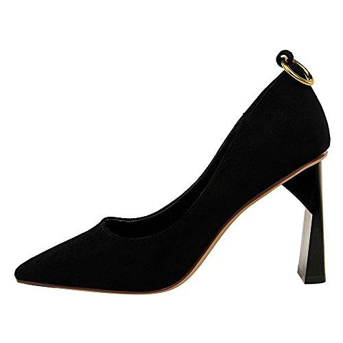 abito scoperta alto sera da 38 tacco cintura scarpe scamosciato Tacco scivolare tacchi con spesso da alto punta in donna sexy alti a Gheel FP56wqW