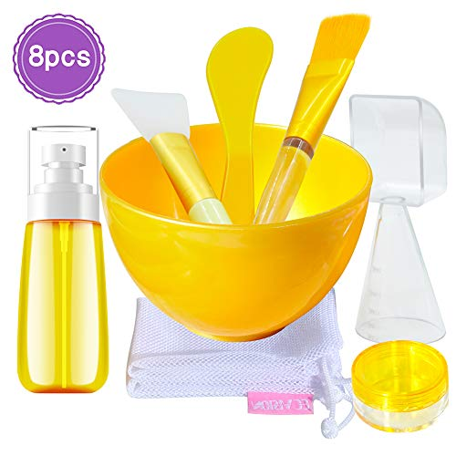 EC VISION Luxury Face Mask Mixing Bowl Set,Skin Care Tool Refillable Spray Bottle Mask Brush with Exquisite Gift Box and Dry Bag Gift, Best Gift for Family, Friends, Colleague(8Pcs)