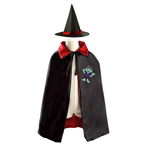 69PF-1 Halloween Cape Matching Witch Hat Happy Zombie