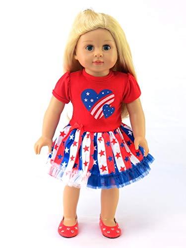 [해외]American Fashion World Patriotic Heart Dress fits 18 Inch Doll / American Fashion World Patriotic Heart Dress fits 18 Inch Doll