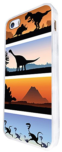 1320 - Cool Fun Trendy Cute Kawaii Dinosaur T-Rex Brachiosaurus Prehistoric Stegosaurus Raptor (4) Design iphone SE - 2016 Coque Fashion Trend Case Coque Protection Cover plastique et métal - Blanc