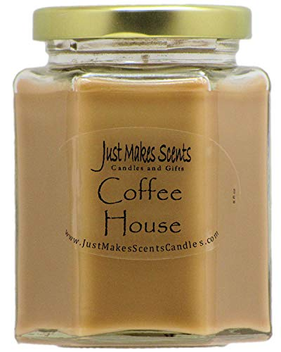 (Just Makes Scents Coffee House Scented Soy Blend Candle   Fresh Coffee Smell   Hand Poured in The USA)