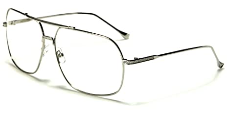 8ede6ebdc21 Image Unavailable. Image not available for. Color  Silver Squared-Off Aviators  Sport Thin Wire Rims Men Women Clear Lens Glasses