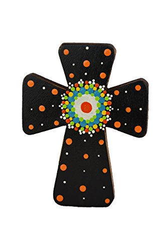 Costa Rican hand painted wall cross (Small - Black) (Painted Hand Cross)