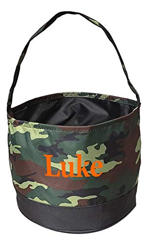 Childrens Fabric Bucket Tote Bag - Toys - Easter Basket - Custom Embroidery Available (Camo/Black with Embroidery) -