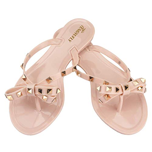 TENGYUFLY Womens Rivets Bowtie Flip Flops Jelly Thong Sandal Rubber Flat Summer Beach Rain Shoes Pink Beige ()