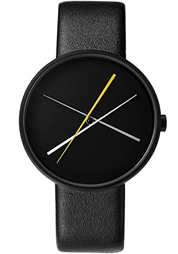 Projects Unisex Crossover 40mm Leather Band Watch (Black) (Project Watches)