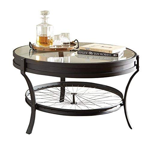 Coaster 705218-CO Round Glass Top Coffee Table, Sandy Black Black Rustic Coffee Table