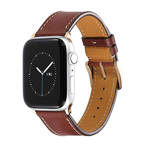 CHIMAERA Compatible for Apple Watch Band 44mm 42mm 40mm 38mm Leather Strap for iWatch Series 4/3/2/1 Sport Edition Rose Gold Buckle (1 1 2 Turn Buckle)