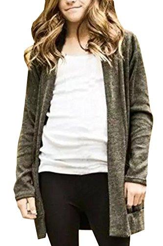 Geckatte Girls Boyfriend Cardigan Open Front Long Sleeve Spring Lightweight Knit Coat Jacket (Girls Long Cardigan)