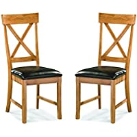Imagio Home FD-CH-125C-CNT-RTA Family Dining X-Back Side Chair, Chestnut Finish, Set of 2