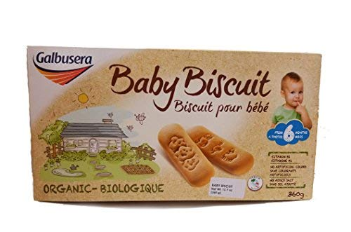 Galbusera Organic Baby Biscuit Non GMO - All Natural - 2 Pack - 12.7 Ounce per Box product of Italy