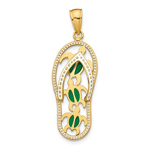 - 14k Yellow Gold Enamel Cut Out Flip Flop Sea Turtles Pendant Charm Necklace Shore Sal Fine Jewelry For Women Gift Set