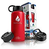 Liquid Savvy 32 oz Insulated Water Bottle with 3 lids - Stainless Steel, Wide Mouth Double Walled Vacuum Insulated Bottle for Hot and Cold Beverages (Red)