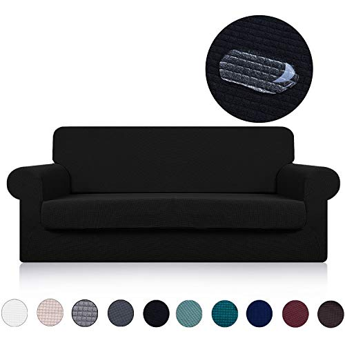 (Sofa Cover with Separate Seat Cushion Cover(2 Pieces Set) - Water Repellent,Knitted Jacquard,High Stretch - Living Room Couch Slipcover/Protector/Shield for Dog Cat Pets(3 Seater Sofa,Black))