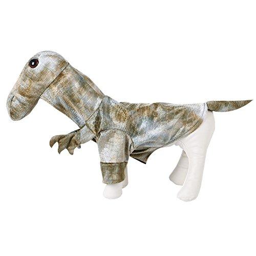 LETSQK Funny Raptor Dragon Dinosaur Animal Halloween Pet Dogs Costumes Apparel (Dog Triceratops Costume)