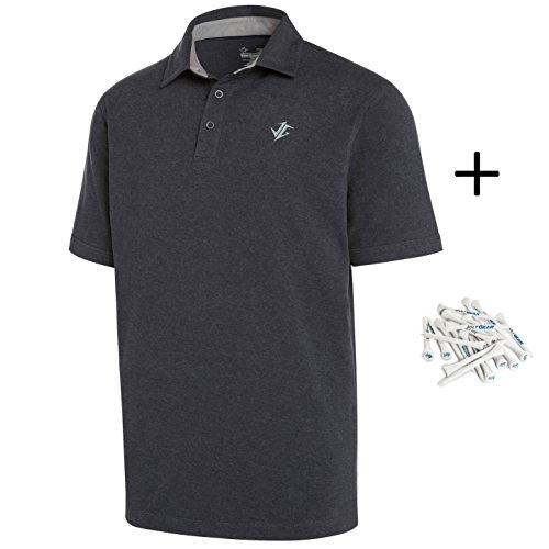 (Three Sixty Six Golf Shirts for Men - Dry Fit Cotton Polo Shirt - Includes 20 Golfing Tees Grey)