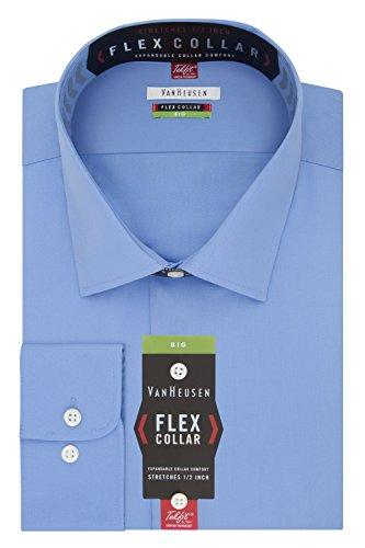 (Van Heusen Men's Big and Tall Flex Fit Solid Spread Collar Dress Shirt, Periwinkle, 18.5