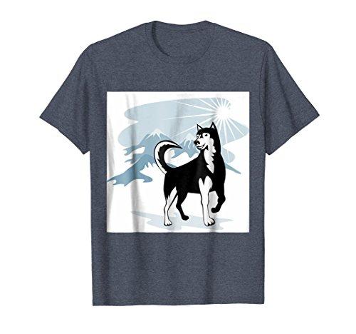 Malamute Sled - Mens Siberian Husky or Malamute Sled Dog T-shirt Medium Heather Blue