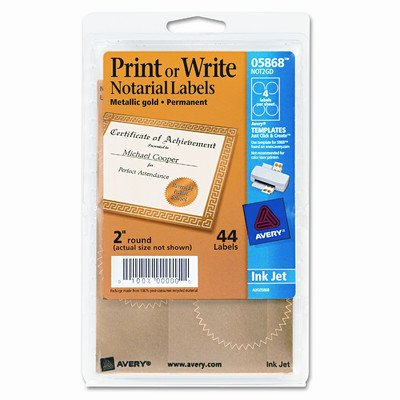 Inkjet Print or Write Notarial Seals, 44/Pack [Set of 2]