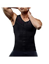Ggpyy Mens Slimming Body Shaper with Zipper Compression Vest Waist Girdle Shirt Shapewear