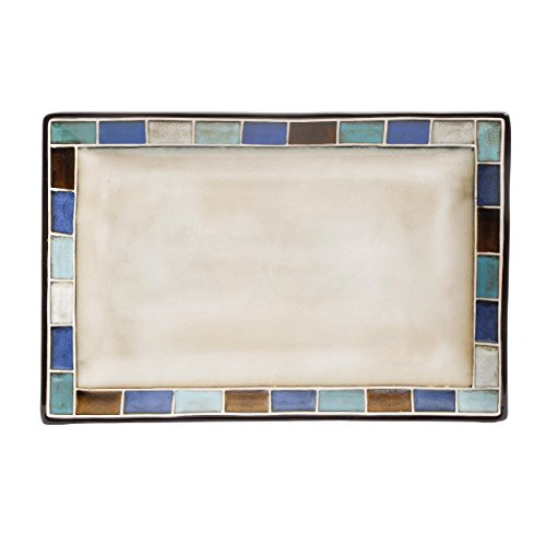 "Gibson Elite Casa Azul Reactive Glaze 14"" x 9"" Platter, Cream and Blue"