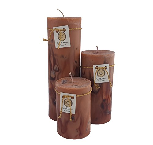 Merlot Rose (Valentine's Day Romantic Gift - Handmade, Long Burning Pillar Candles - Chocolate, Merlot & Rose scent (3 medium))