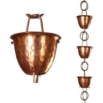 Amazon Com Monarch Pure Copper Hammered Cup Rain Chain