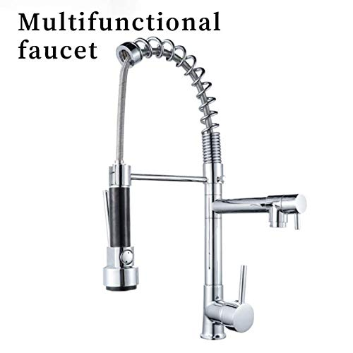 Kitchen Sink Mixer Taps,Kitchen Faucet Hot and Cold Water Mixer Faucet Spring Pull Faucet, Suitable for Hotels, Restaurants