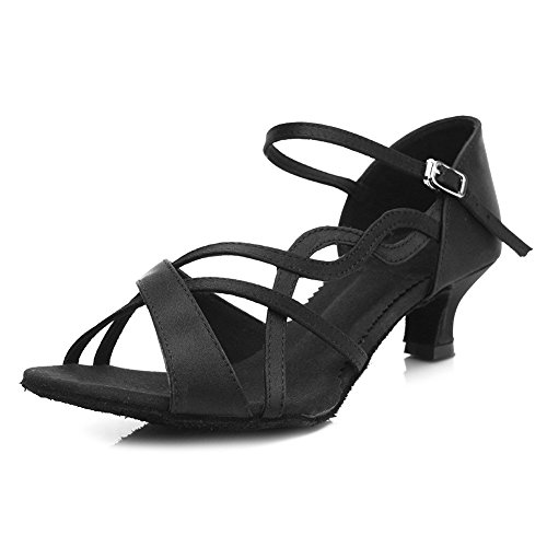 Ballroom Modern Latin Standard Women's Shoes Dance SWDZM Model Satin TY B26 Black WwcYUSanq